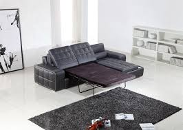 Sofa With Bed Pull Out Modern Black Leather Sectional W Pull Out Sofa Bed