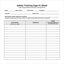 Safety Sign In Sheet Template Sle Sign In Sheet 11 Exles Format