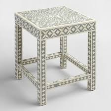 White Accent Table White And Gray Bone Inlay Accent Table World Market