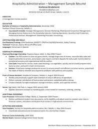 resume examples hospitality management