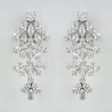 Beaded Chandelier Clip Earrings White Earrings Boisseau Pear Cz Chandelier For Elegant House Decor