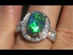 black opal engagement rings certified black australian black opal diamond 14k gold