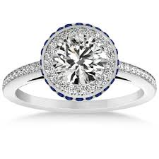 sapphires rings images Diamond halo engagement ring blue sapphire accents 14k w gold 0 50ct jpg