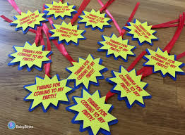 super hero comic phrase party favor gift tags red blue u0026 yellow