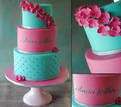 3 tiered pink u0026 turquoise wedding cake 3 stöckige pink t u2026 flickr