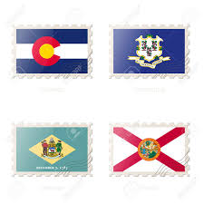 Florida Flag Facts Postage Stamp With The Image Of Colorado Connecticut Delaware