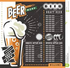 beer menu retro design template stock vector image 68322240