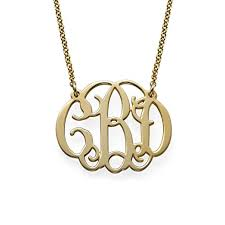 monogram necklaces 18k yellow or gold plated silver fancy monogram