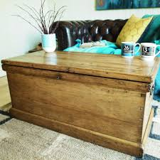 coffee table vintage trunk storage chest victorian tool pine