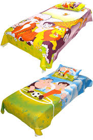 Cotton Single Bed Sheets Online India Buy Indian Rack Combo Of Chhota Bheem With Animals And Playing