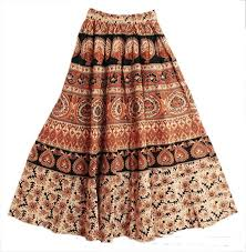 cotton skirts brown and black sanganeri block print on light cotton skirt