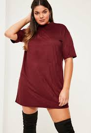 plus size burgundy faux suede t shirt dress missguided