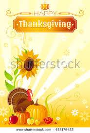 thanksgiving turkey vector poster autumn happy stock vector