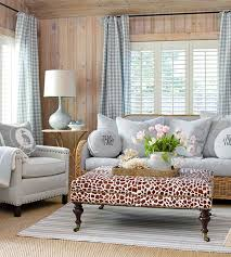 Blue And White Gingham Curtains Whitewashed Wood Walls In A - Cottage living room ideas decorating