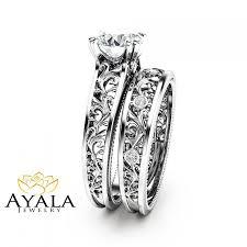 filigree engagement rings unique diamond bridal set 14k white gold engagement rings deco