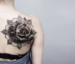 mandala flower and grey rose flower tattoo on right back shoulder