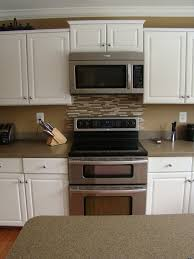 kitchen stove backsplash small kitchen decoration using light brown glass tile kitchen