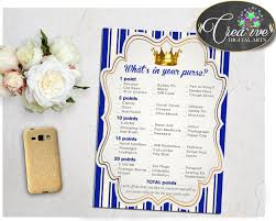 what u0027s in your purse royal blue baby shower game little prince