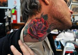 traditional rose neck tattoo 2015