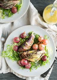 roasted radicchio with grapes side dish mid croissant