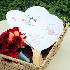 wedding program fan kits diy heart program fan paper ki wedding fans destination