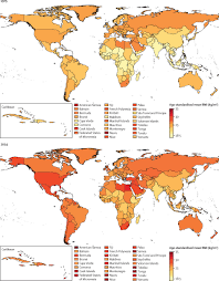 Isfahan On World Map by Trends In Body Mass Index In 200 Countries From 1975 To 2014