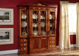 funiture modern brown wooden china cabinet and buffet with glass