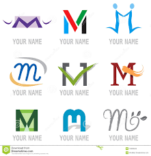 set of icons and logo elements letter m vector illustration stock