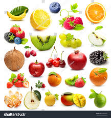 different type fruits isolated on white stock photo 219005986