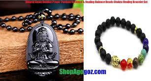 natural stone beaded necklace images Natural stone buddha prayer pendant necklace lava chakra jpg