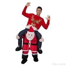 Piggyback Halloween Costume Wholesale Halloween Santa Claus Riding Deer Mascot Carry Piggy