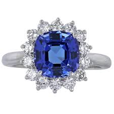 tiffany and co tanzanite diamond platinum cluster ring at 1stdibs
