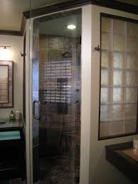 cute image of bathroom design and decoration using glass block