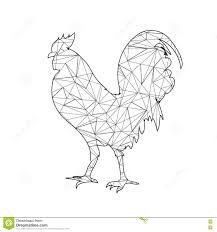 low poly coloring page rooster stock photo image 78413455