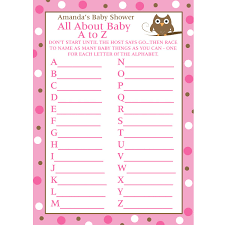 24 personalized baby shower a to z game cards baby owl