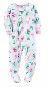 carters girls 1 piece footed sleeper zip up fleece pajama ebay