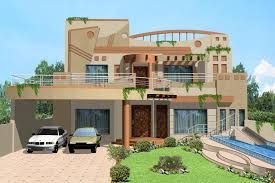 kanal house villa banglow lahore beautiful 3d house front