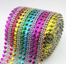 mesh ribbon table decorations 16 rows double heart rhinestone mesh ribbon rainbow diamante wedding
