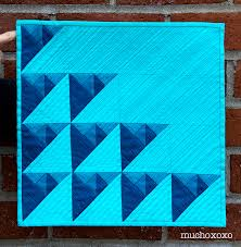 michael miller fabric challenge pyramids in blue mucho xoxo