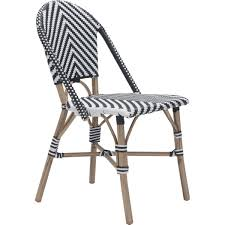 Outdoor Modern Dining Chair Zuo Modern 703805 Paris Outdoor Dining Chair In Black U0026 White Poly