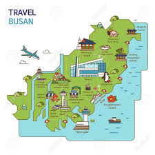 pusan on map city tour travel map illustration busan pusan city south korea