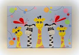 tableau pour chambre d enfant girafes et zèbres les petits