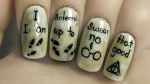 easy harry potter nails freehand nail art tutorial youtube