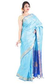 Buy Royal Blue Pure Silk Sea Blue U0026 Royal Blue Pure Silk Shari Elegantly Crafted With