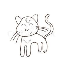 illustration of simple cat sketch original hand drawn stock