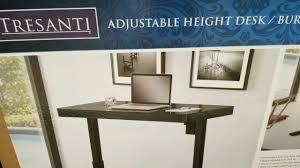 tresanti sit stand desk costco costco tresanti adjustable height desk black glass 299 youtube