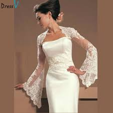 wedding dress jacket aliexpress buy dressv fashion white ivory sleeve lace