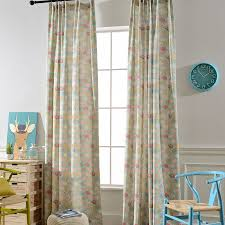 Green Kids Curtains Blue Elephant And Floral Printed Poly Cotton Kids Curtains