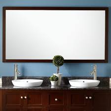 Frame Bathroom Mirror Kit by Bathroom Mahogany Rectangle Resin 60 Inch Mirror Country Leaning