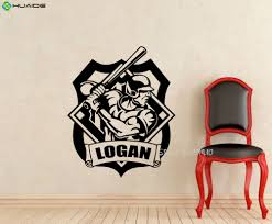 popular wall sticker for teen boy room buy cheap personalized name baseball player wall stickers for boys room teens bedroom home decor poster